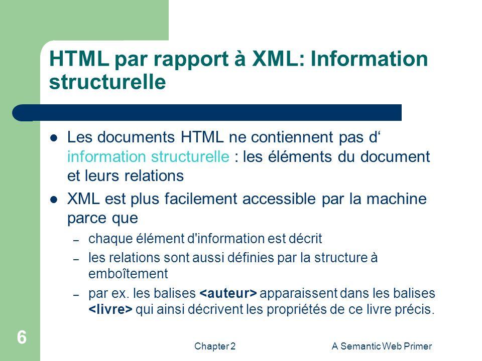HTML par rapport à XML: Information structurelle