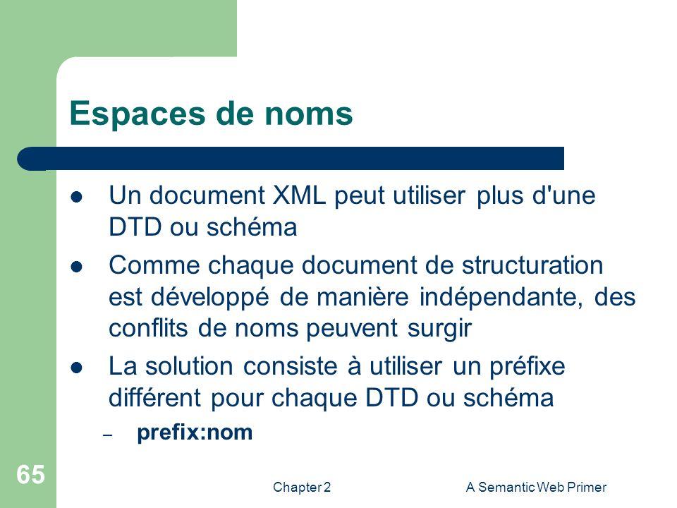 Espaces de noms Un document XML peut utiliser plus d une DTD ou schéma