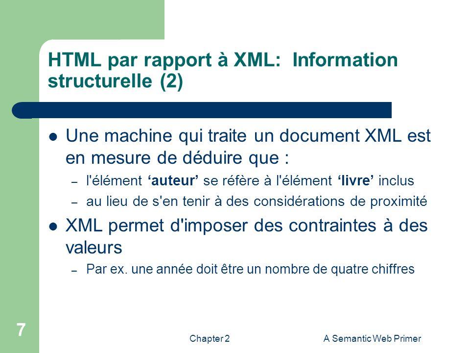 HTML par rapport à XML: Information structurelle (2)