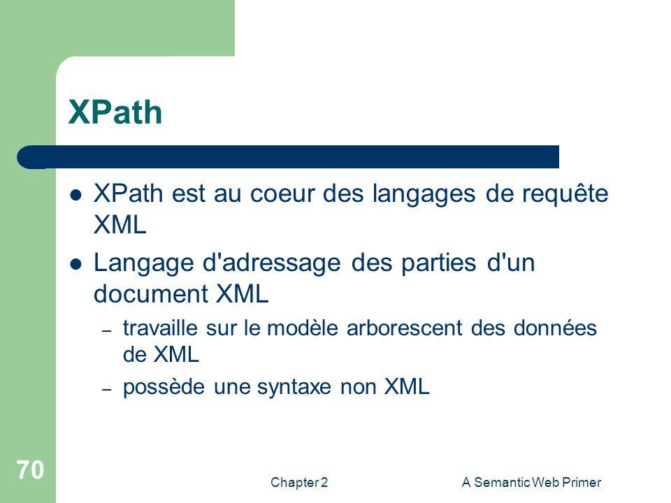XPath XPath est au coeur des langages de requête XML