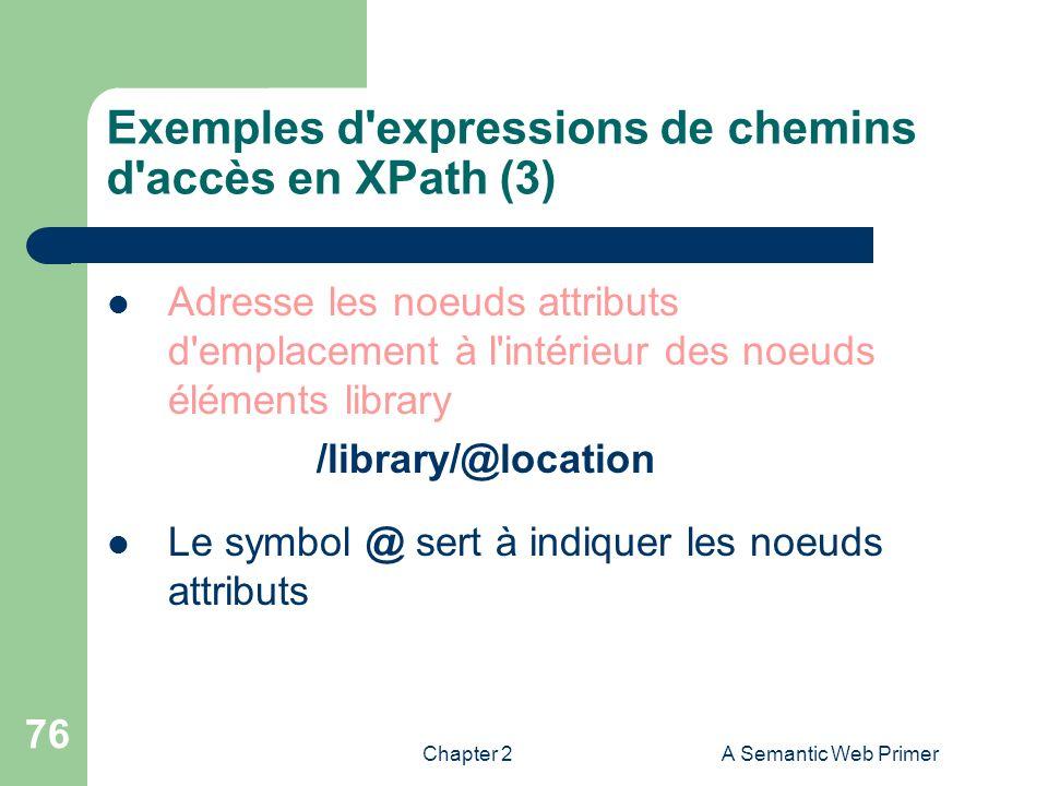 Exemples d expressions de chemins d accès en XPath (3)