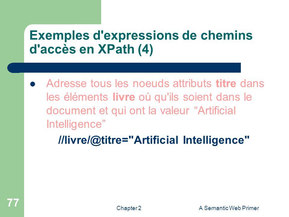 Exemples d expressions de chemins d accès en XPath (4)