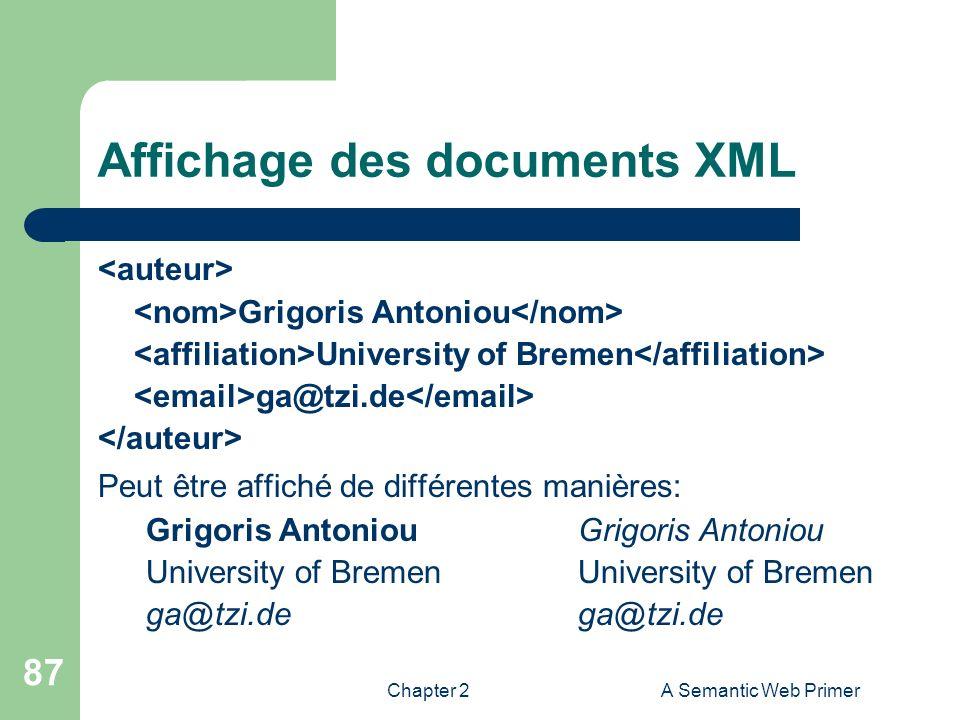 Affichage des documents XML