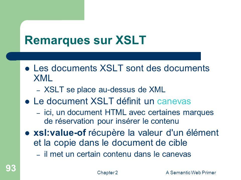 Remarques sur XSLT Les documents XSLT sont des documents XML