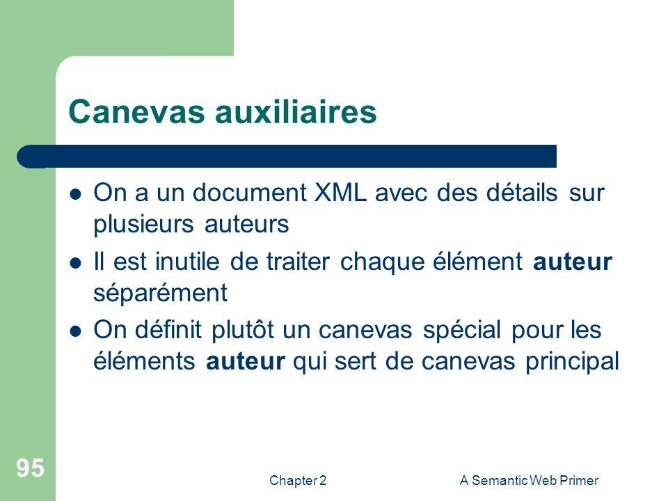 Canevas auxiliaires On a un document XML avec des détails sur plusieurs auteurs. Il est inutile de traiter chaque élément auteur séparément.