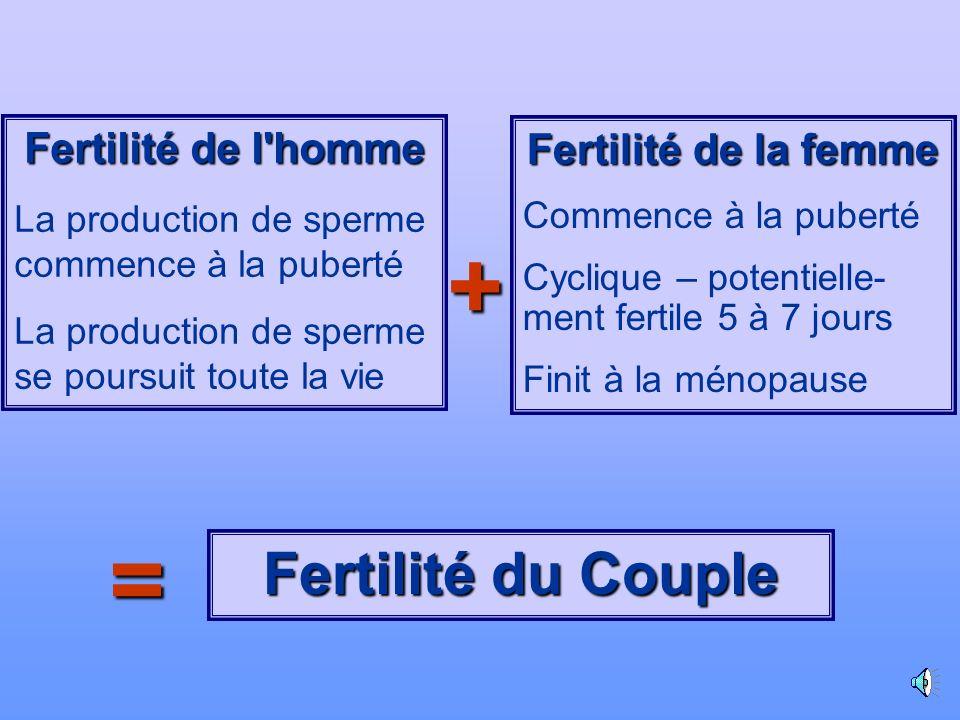 + = Fertilité du Couple Fertilité de l homme Fertilité de la femme