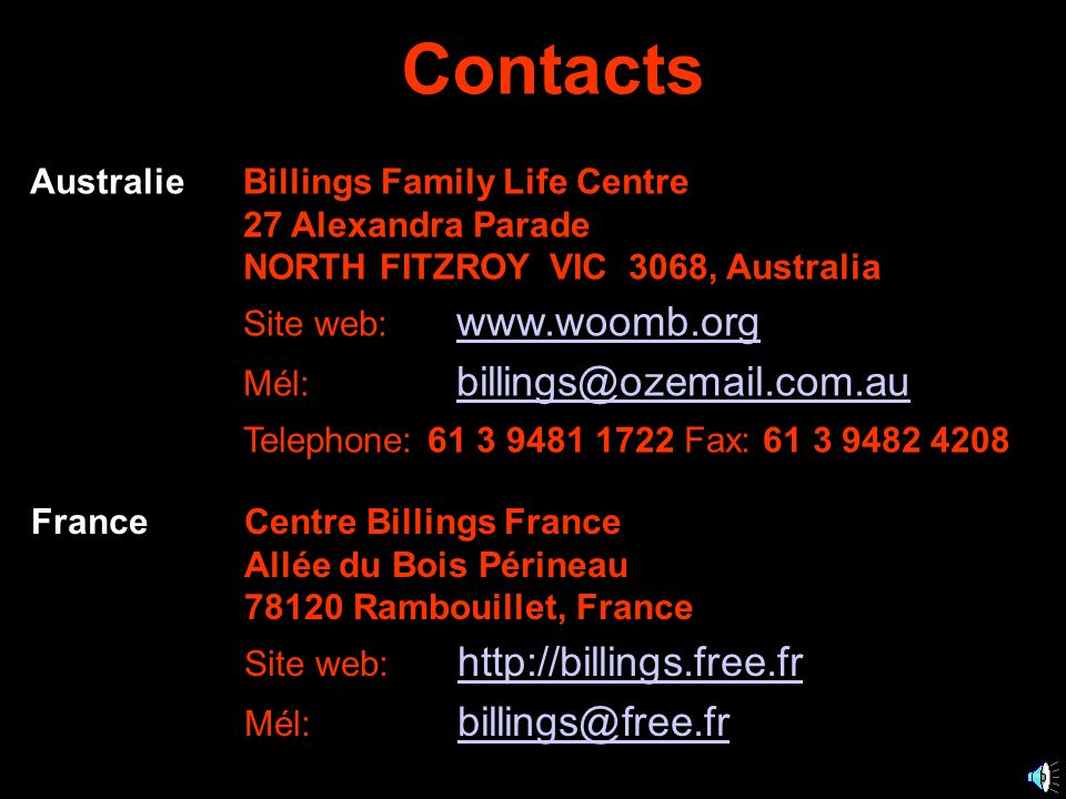 Contacts Australie Billings Family Life Centre 27 Alexandra Parade