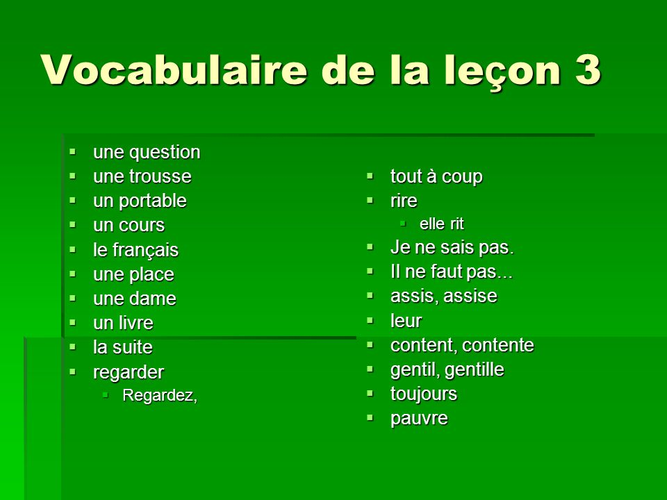 Vocabulaire de la leçon 3