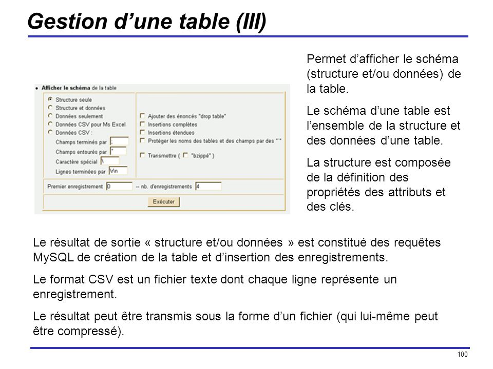 Gestion d'une table (III)