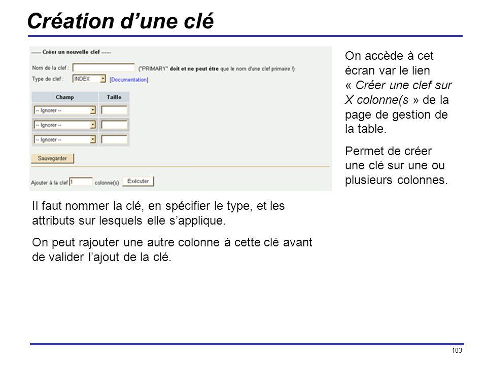 Création d'une clé On accède à cet écran var le lien « Créer une clef sur X colonne(s » de la page de gestion de la table.