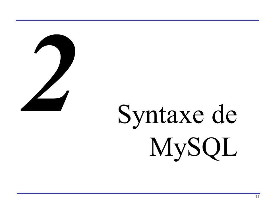 2 Syntaxe de MySQL