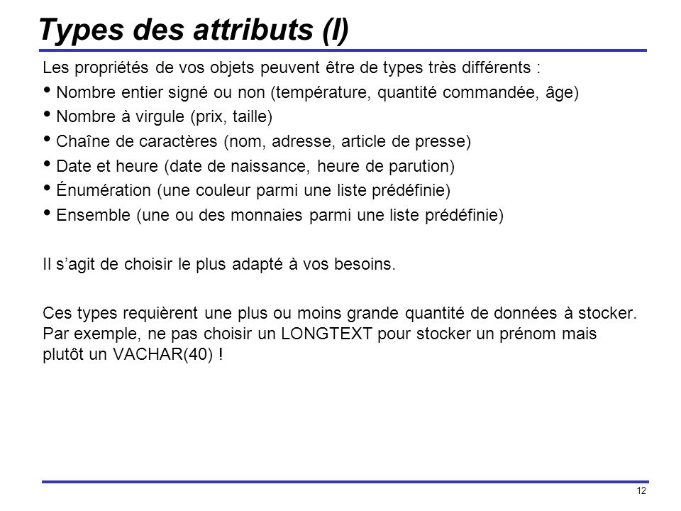 Types des attributs (I)