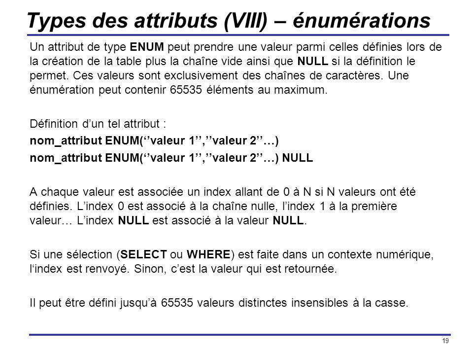 Types des attributs (VIII) – énumérations