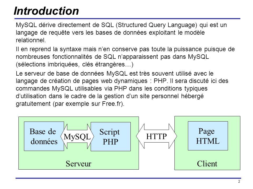 Introduction Base de Script Page MySQL HTTP données PHP HTML Serveur