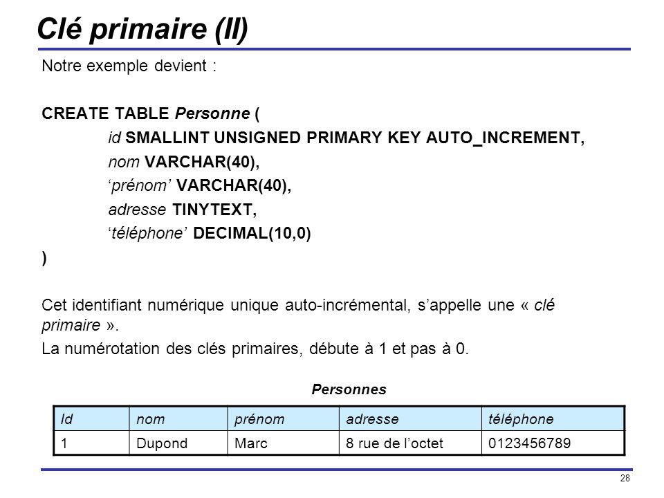 Clé primaire (II) Notre exemple devient : CREATE TABLE Personne (