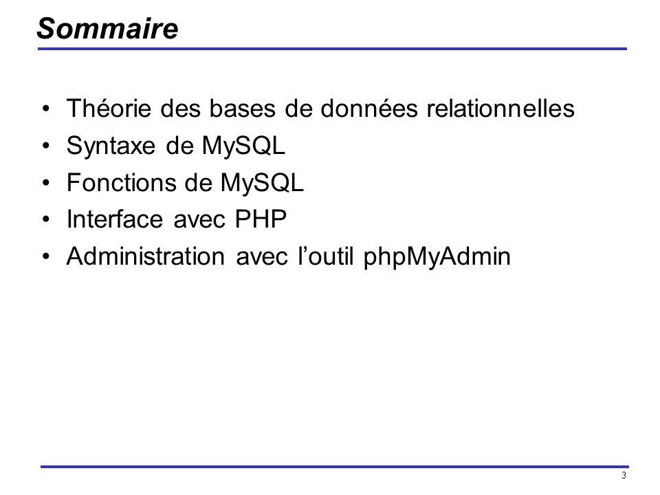 Sommaire Théorie des bases de données relationnelles Syntaxe de MySQL