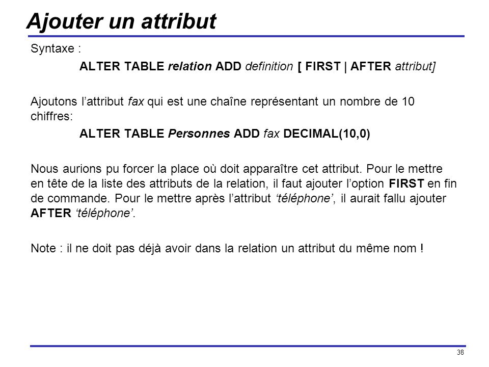 Ajouter un attribut Syntaxe :