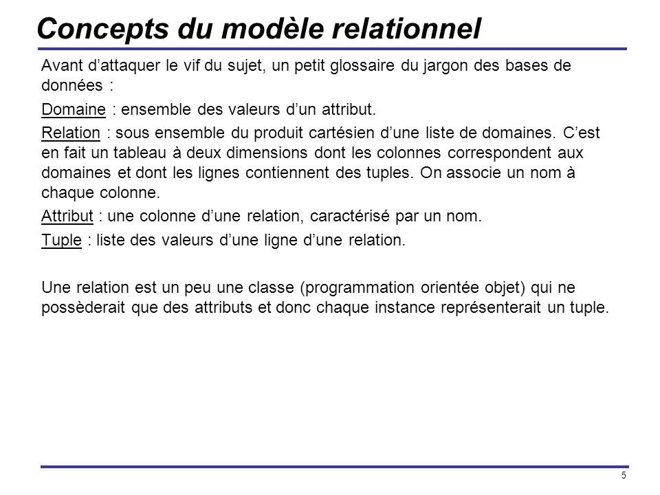 Concepts du modèle relationnel