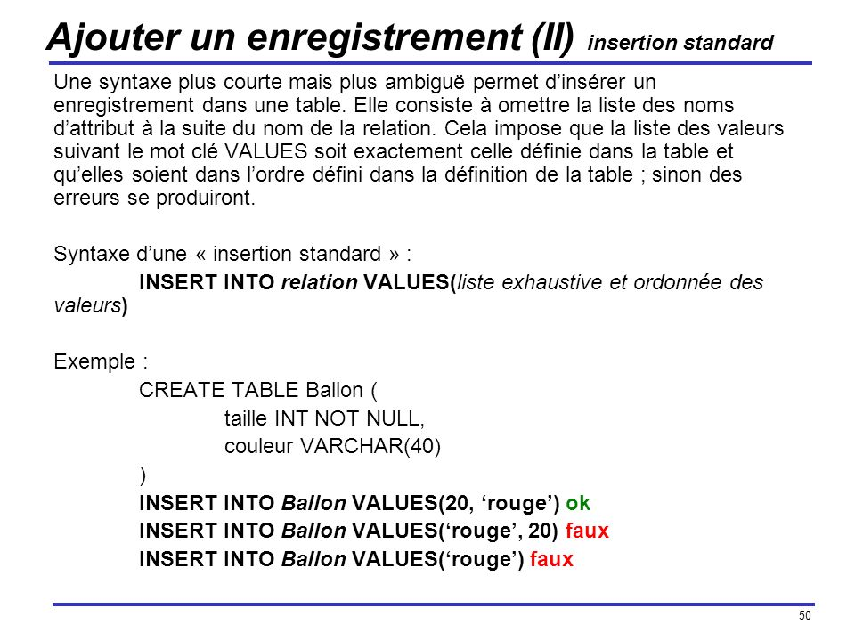 Ajouter un enregistrement (II) insertion standard