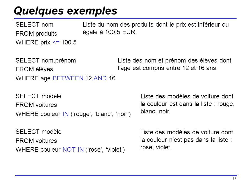 Quelques exemples SELECT nom FROM produits WHERE prix <= 100.5