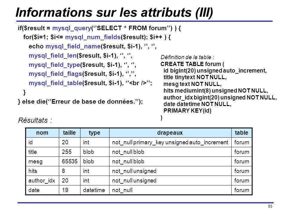 Informations sur les attributs (III)