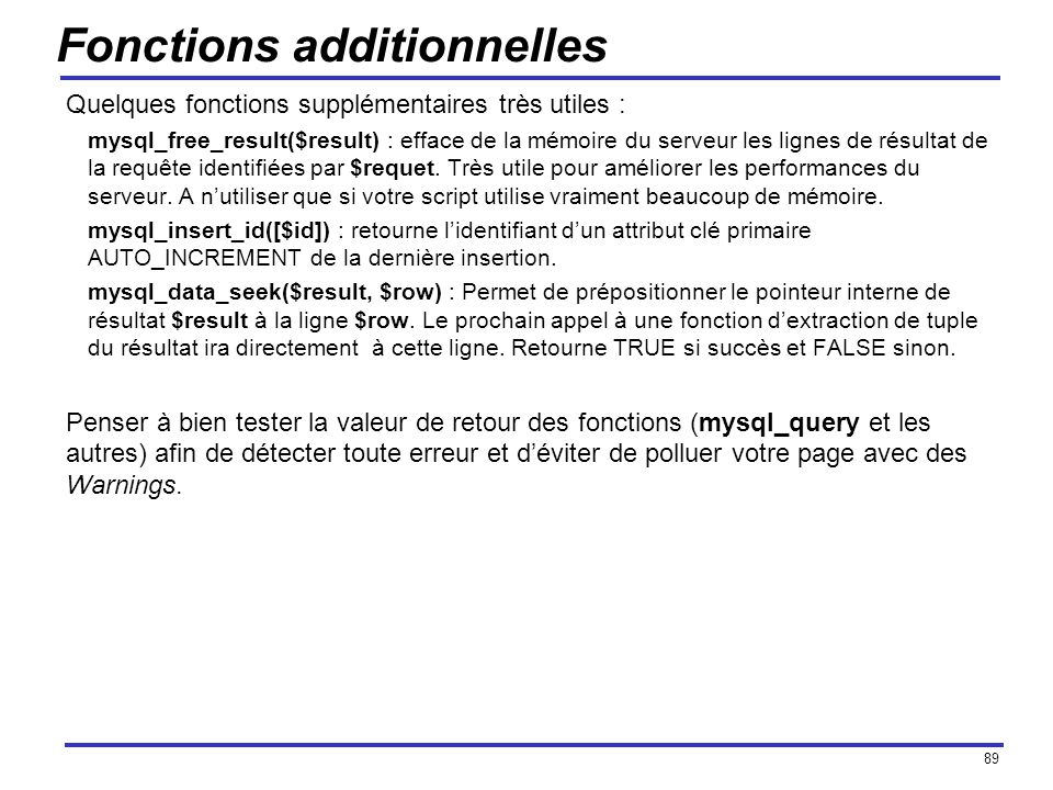 Fonctions additionnelles