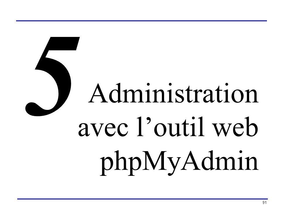 5 Administration avec l'outil web phpMyAdmin