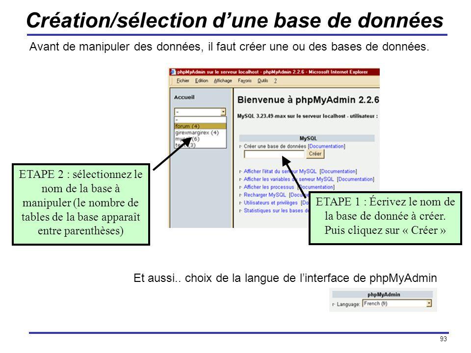 Création/sélection d'une base de données
