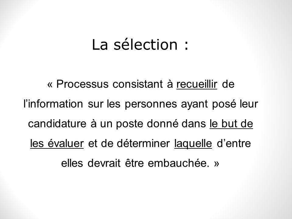 La sélection :