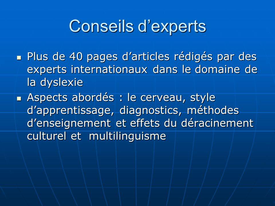 Conseils d'experts Plus de 40 pages d'articles rédigés par des experts internationaux dans le domaine de la dyslexie.