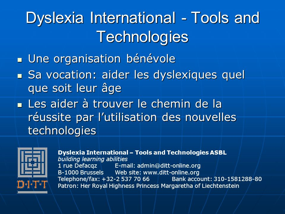 Dyslexia International - Tools and Technologies