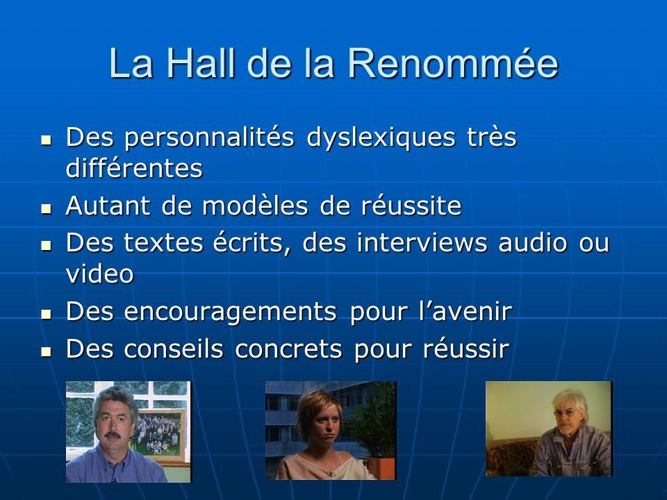 La Hall de la Renommée Des personnalités dyslexiques très différentes