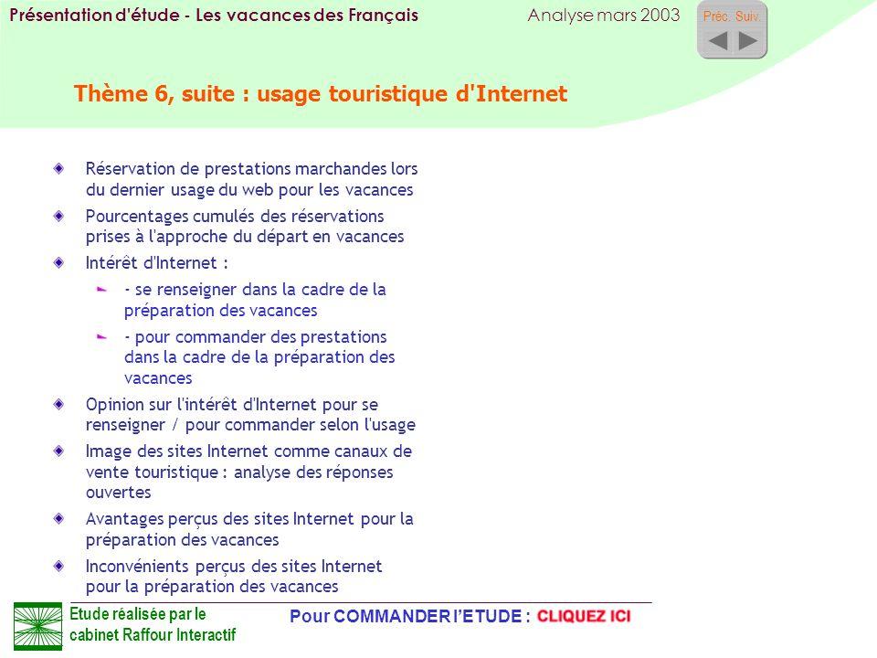 Thème 6, suite : usage touristique d Internet