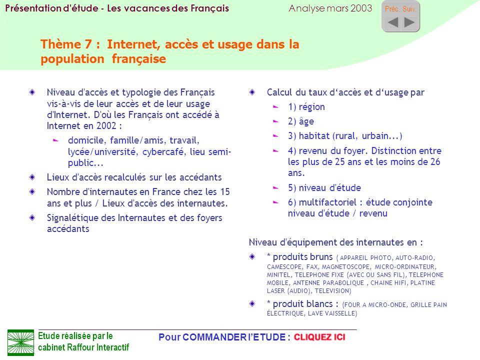 Thème 7 : Internet, accès et usage dans la population française