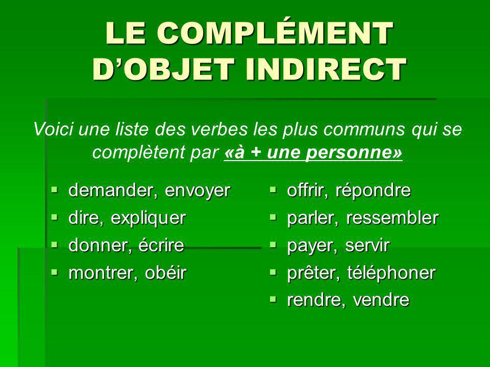 LE COMPLÉMENT D'OBJET INDIRECT