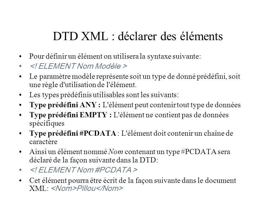 DTD XML : déclarer des éléments