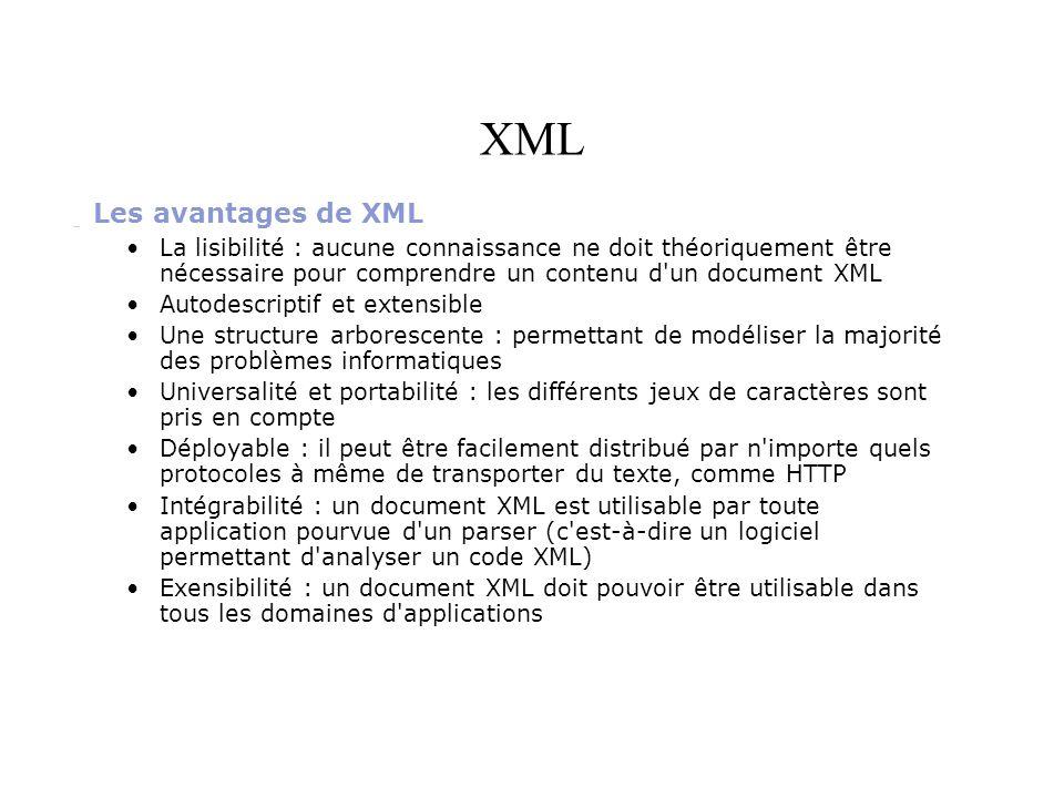 XML Les avantages de XML