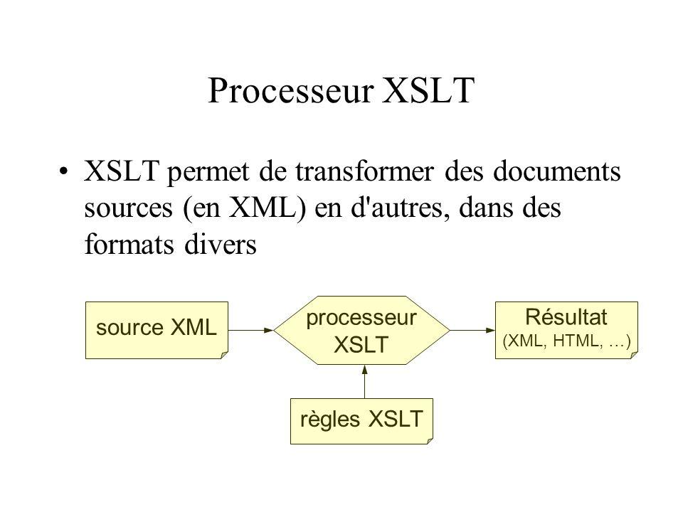 Processeur XSLT XSLT permet de transformer des documents sources (en XML) en d autres, dans des formats divers.