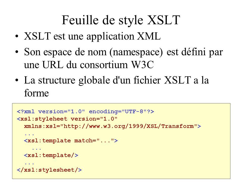 Feuille de style XSLT XSLT est une application XML