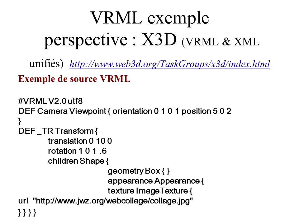 VRML exemple perspective : X3D (VRML & XML unifiés) http://www. web3d