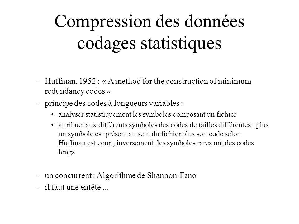 Compression des données codages statistiques