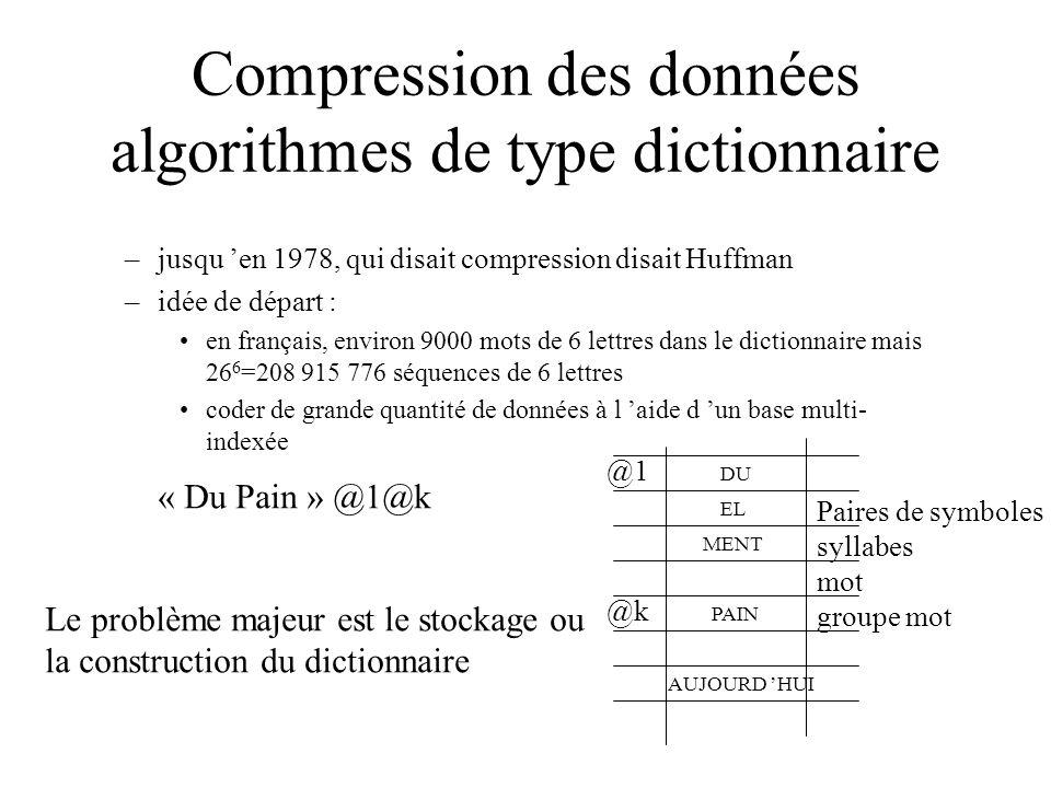 Compression des données algorithmes de type dictionnaire