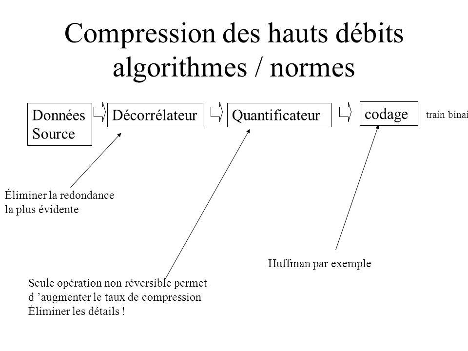 Compression des hauts débits algorithmes / normes
