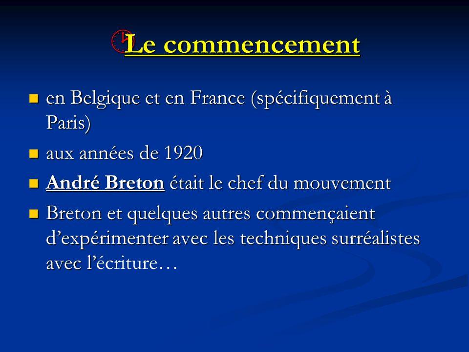 Le commencement en Belgique et en France (spécifiquement à Paris)