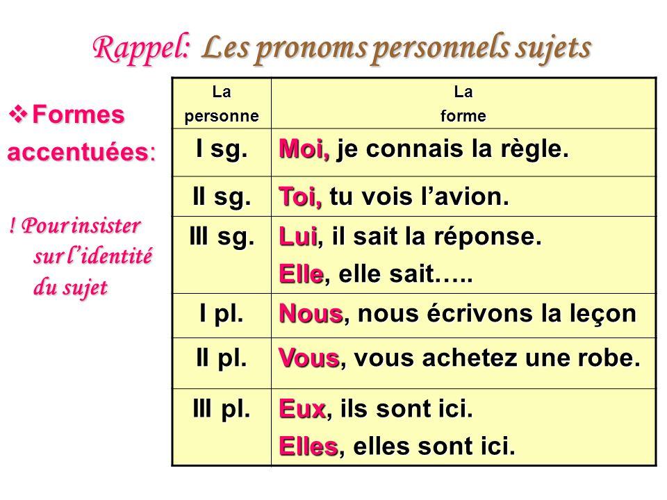 Rappel: Les pronoms personnels sujets