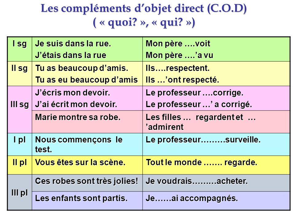 Les compléments d'objet direct (C.O.D) ( « quoi », « qui »)