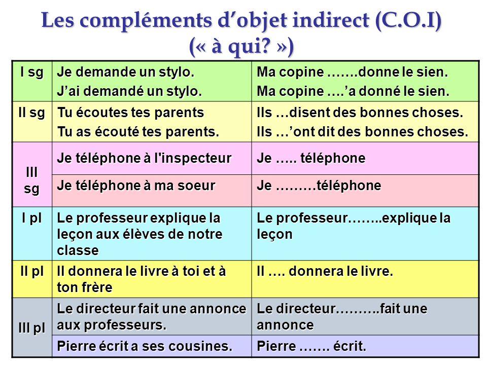 Les compléments d'objet indirect (C.O.I) (« à qui »)