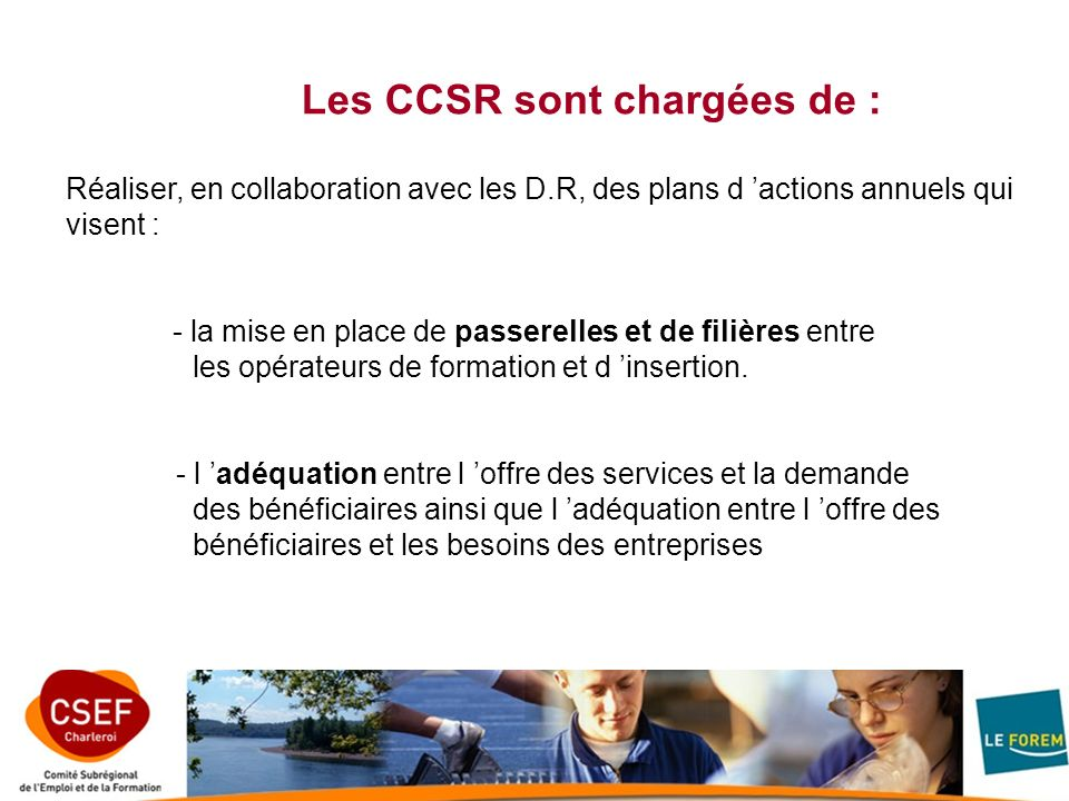 Les CCSR sont chargées de :