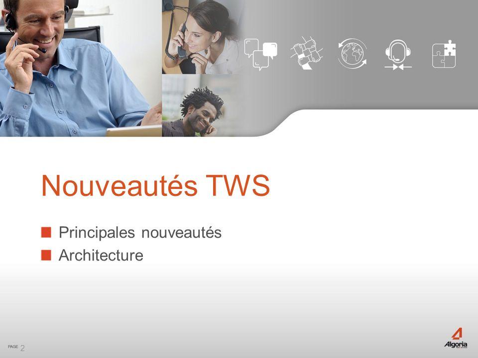 Nouveautés TWS Principales nouveautés Architecture