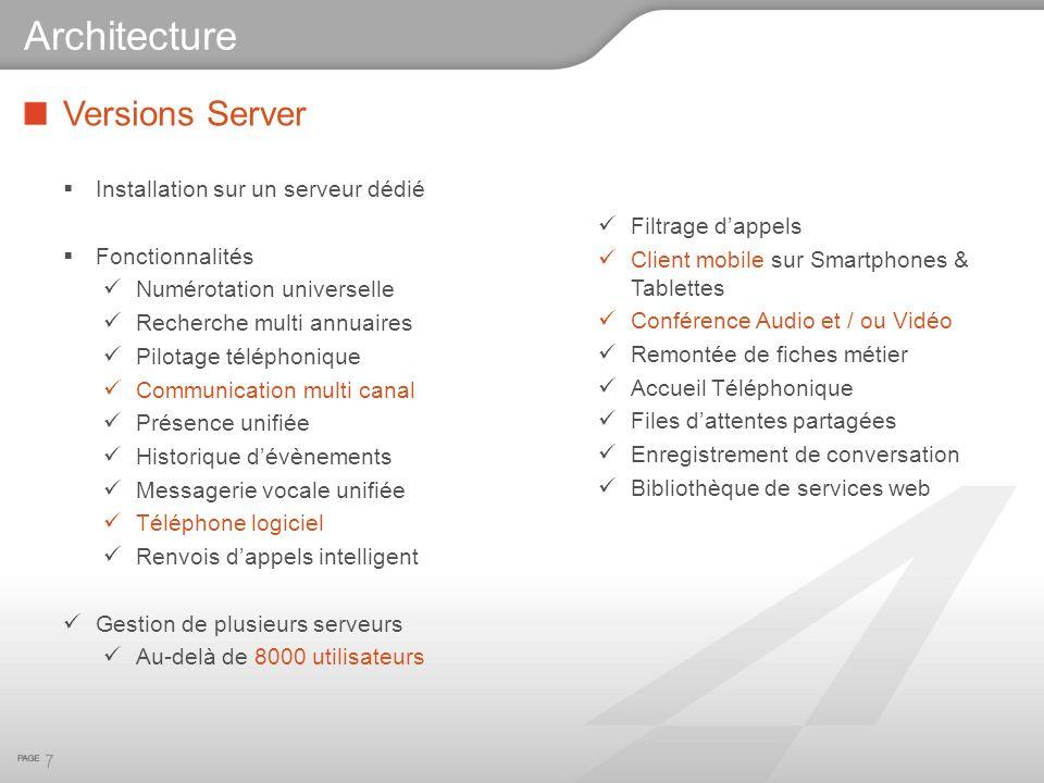 Architecture Versions Server Installation sur un serveur dédié